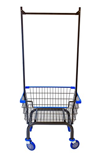Coin Laundry Cart, CART&SUPPLY [Heavy Duty] [Rolling Cart] Laundry Cart (Metal Gray/Blue Double Pole Rack / Blue)