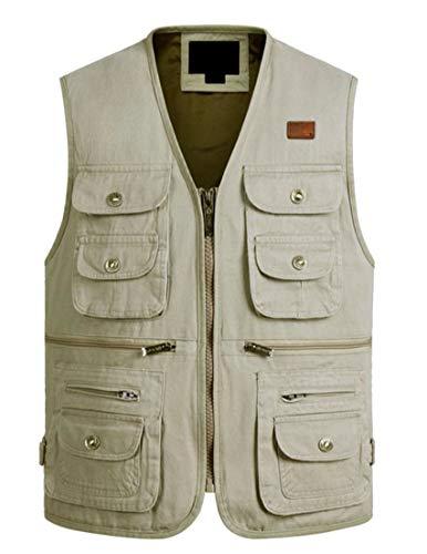 Sweatwater Men Zip Casual Plus Size Cargo Waistcoat Multi-Pocket Jacket Vest Beige 2XL