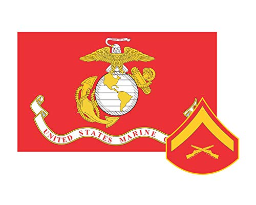 Marine Corps Flag USMC w/LCpl Rank Lance Corporal Vinyl Decal Sticker Cars Trucks Laptops etc.3.22x5 (Red) (Full Color) ()