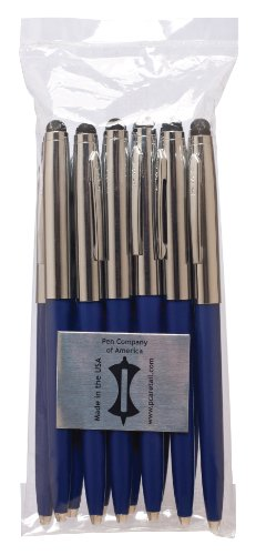 PCA USA Made Pen Stylus Combo Bulk Silver Cap with Blue B...