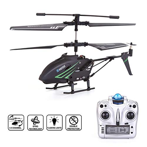 RC Helicopter, VATOS Remote Control Helicopter with Gyro and LED Light 3.5 Channel Alloy Mini Helicopter Remote Control for Kids & Adult Indoor Outdoor Micro RC Helicopter, Helicopter Toy for Kids