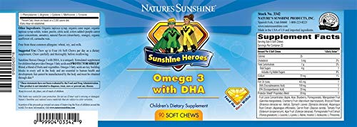 Sunshine Heroes Omega 3 with DHA â€'' for Kids, Children - 90 Soft Chews