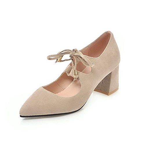 Odomolor Women's Pointed-Toe Solid Lace-up Kitten-Heels Court Shoes Beige