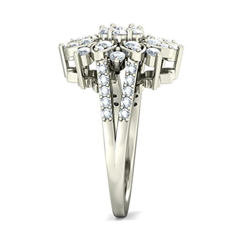 14 K Or blanc, 1.08 carat Taille ronde Diamant (IJ | SI) Cocktail en diamant