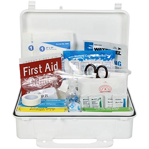 OSHA & ANSI First Aid Kit, 25 Person, 74 Pieces, Indoor/Outdoor Emergency Kit for Office, Home or Car, ANSI 2015 Class A/Types I & II, Gasketed for Moisture & dust, Made in USA by Urgent First AidTM