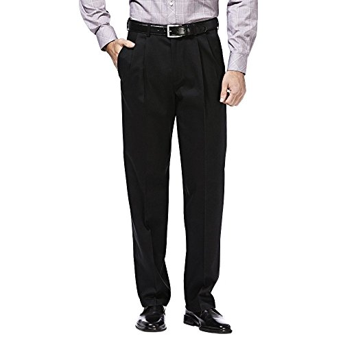 Haggar Premium No Iron Stretch Classic Fit Pleated Pants Black 40x34 by Haggar