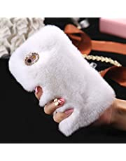 Cfrau Furry Case with Black Stylus for Samsung Galaxy A20S,Winter Warmed Fashion Faux Rabbit Bunny Fur Fluffy Plush Soft Case with Cute 3D Crystal Bowknot,White