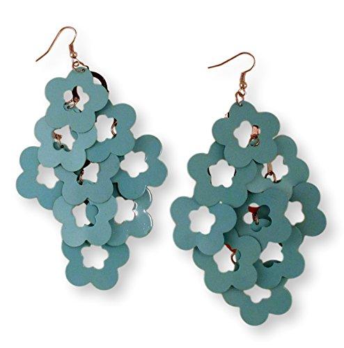 Fashion Earrings Chandelier Blue Floral Enamel On Silver Tone - Enamel Chandelier
