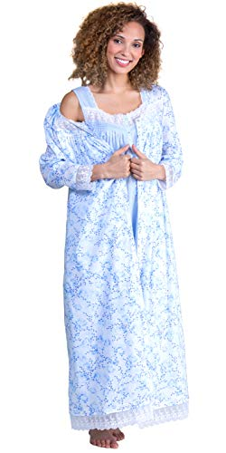 Eileen West Peignoir Set Sleeveless Solid Peri Cotton Gown and Floral Darling Robe (Solid Peri/Blue Floral, X-Large)