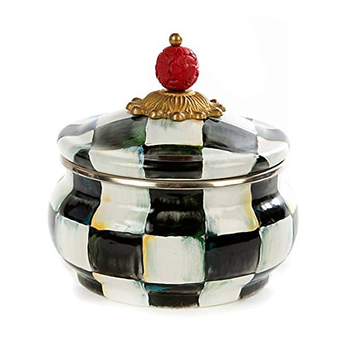 - Stainless Steel Squash Pot Canister - Enamel Courtly Check Black and White Print Lidded Bowl - 20 oz by MacKenzie-Childs