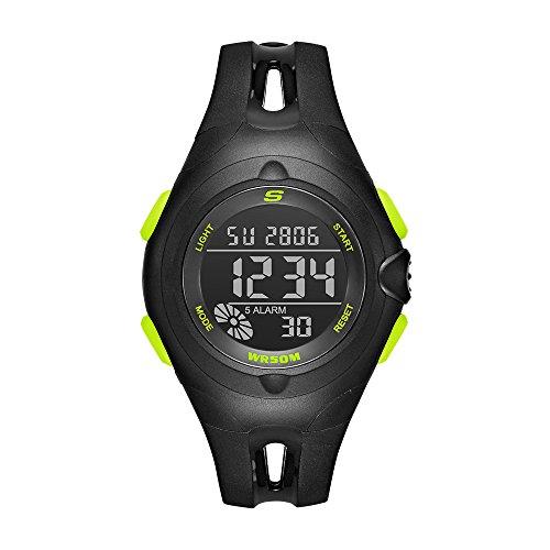 Skechers Women's Tree Quartz Plastic and PU Digital Watch Color: Black, Neon Green (Model: SR2079)