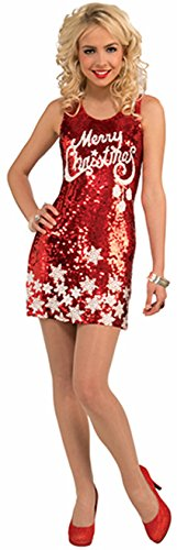 Forum Novelties Women's Plus Size Racy Red Sequin Merry Christmas Costume Dress, Red/White, (Christmas Dress Costume)