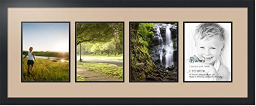 ArtToFrames Collage Photo Frame Double Mat with 4-8x10 Openings with Satin Black Frame and Scotch Mist mat.