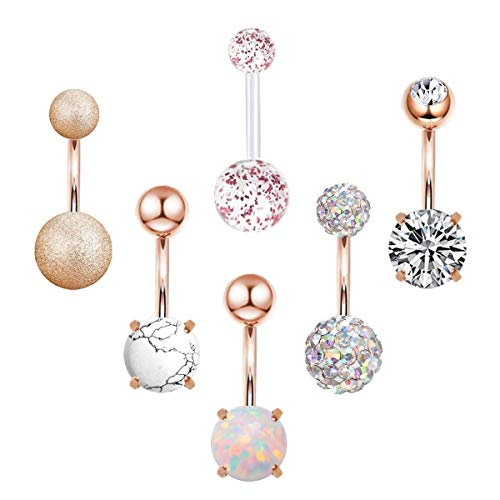 CZCCZC 14G Stainless Steel Belly Button Rings for Women Girls Natutal Mixed Stone Navel Rings Body Piercing Jewelry (6 pcs)
