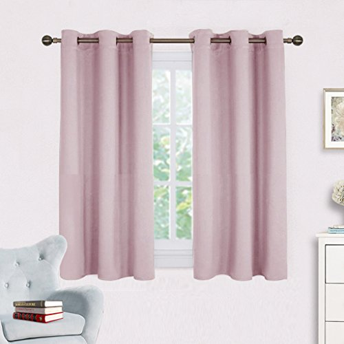 Blackout Curtain Panels for Girls Room - NICETOWN Nursery Essential Thermal Insulated Solid Grommet Top Blackout Draperies / Drapes (1 Pair,42 x 45 Inch in Baby Pink) (Window Pink Curtain)