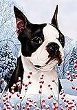 """Boston Terrier by Tamara Burnett Winter Berries Garden Dog Breed Flag 12"""" x 18 For Sale"""