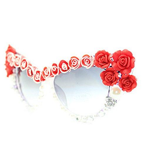 la gafas Flower de protección Gafas verano de vacaciones de mano roja para Cat de Eyes Pearl Encanto Rose sol Polarized playa UV conducción hecho a sol de Ox4wnYq1Z