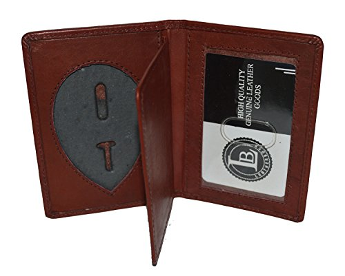 LeatherBoss Police Shield Shape Badge Holder Bifold Wallet (Burgundy)