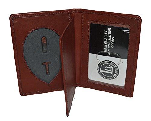 (LeatherBoss Police Shield Shape Badge Holder Bifold Wallet (Burgundy))