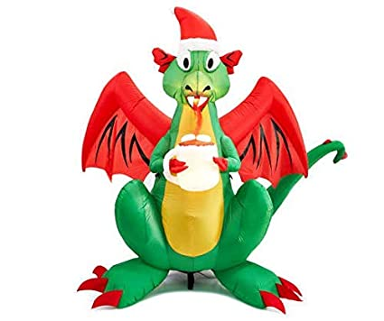 Christmas Dragon.6 Foot Tall Airblown Inflatable Animated Led Fire Breathing Christmas Dragon With Santa Hat And Cup Of Hot Chocolate