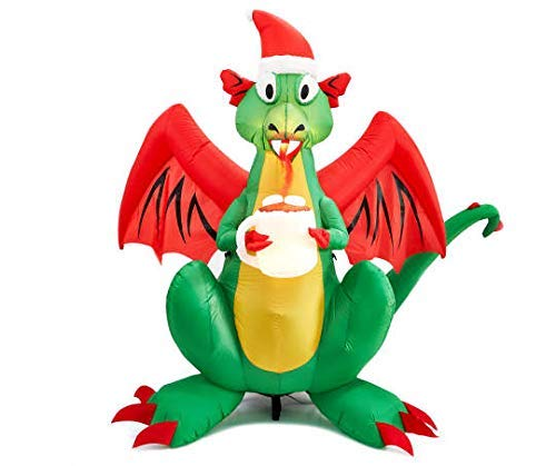6 Foot Tall - Airblown Inflatable Animated LED Fire Breathing Christmas Dragon with Santa Hat and Cup of Hot Chocolate