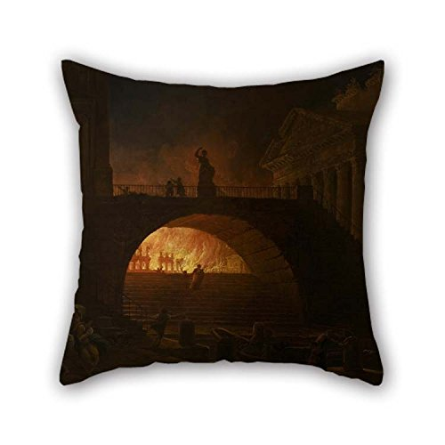 TonyLegner Oil Painting Hubert Robert - The Fire of Rome Pillowcase Best for Play Room Deck Chair Car Seat Couch Wife Sofa 16 X 16 Inches / 40 by 40 cm(Twin Sides)]()