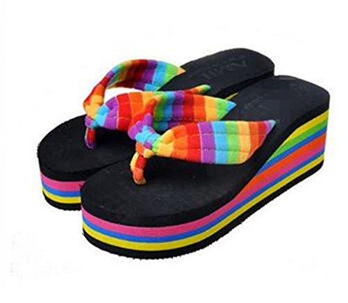mujer Sintético Sandalias de para Boowhol coloreado Material 10nBRqx