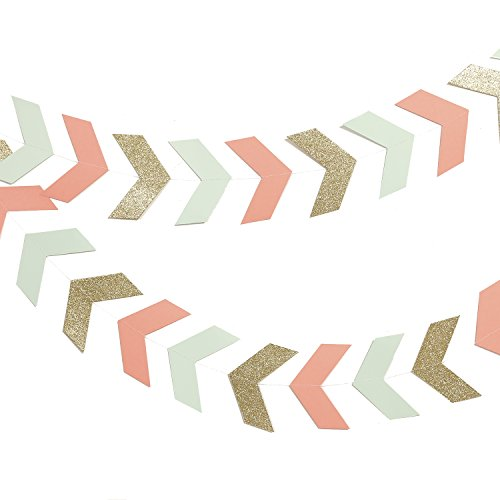 Lings moment 10 Feet Tribal Banner, Arrow Banner, Paper Tribal Decoration Bunting for Wedding, Baby Shower, Event & Party Supplies, 42 pcs-(Gold+Mint+Coral)