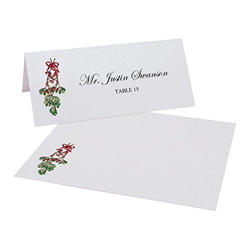 Mistletoe Place Cards, Pearl White, Set of 375 by Documents and Designs