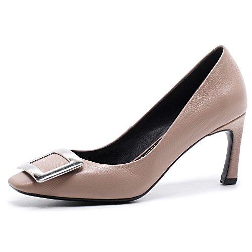 Square Elegant Business Ladies Heel Shoes Women's Leather Stiletto Handmade Genuine Pumps Nude Nine Toe Seven anqw8PvPIx