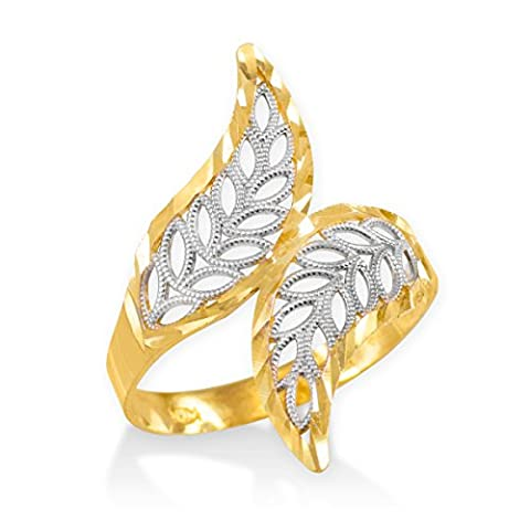 High Polish 10k Two-Tone Gold Double Leaf Filigree Cocktail Ring (Size 6.5) (Leaf Ring White Gold)