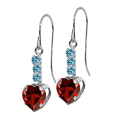 Gem Stone King 2.10 Ct Red Garnet and Swiss Blue Simulated Topaz 925 Sterling Silver Earrings