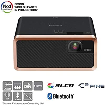 Epson EF-100B 3LCD  Laser  Streaming Device  Bluetooth  Built Speaker  Portable Projector Black  Amazon Exclusive