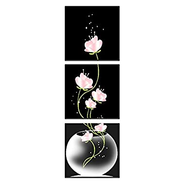 Natural art –Vase with Flower Wall Painting Canvas Prints Home Decoration Wooden Frame 3pcs/set (12×12in×3pcs)