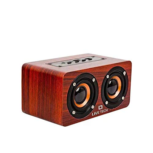 Live Tech Mini Jalsa Wireless TWS Wooden Speaker with Powerful Sound & Bass