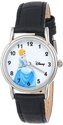 Disney Women's D082S005 Cinderella Black Leather Strap Watch