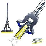 Mastertop Telescopic Sponge Microfiber Flat Mop for Floor Cleaning with 2 Sponge Replacement Heads