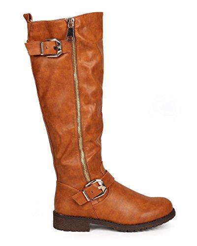 Camel High Knee Boot Women Distressed DA28 Leatherette Buckle Liliana Zip Strap Leatherette Riding XwPTpqx