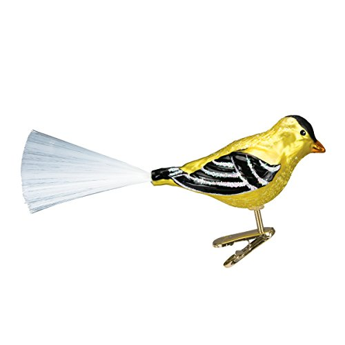 Old World Christmas Glass Blown Clip-On Ornament with Gift Box, Birds Collection (Western Goldfinch)
