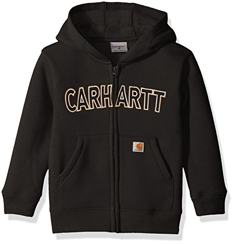 Carhartt Little Boys' Toddler Logo Fleece Zip Sweatshirt, Black, 3T