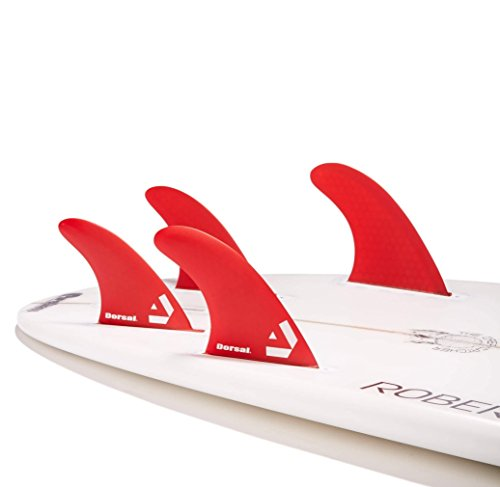 Dorsal Performance Core (Hexcore) Quad Surfboard Fins Set (4) Honeycomb FUT Base Red by Dorsal