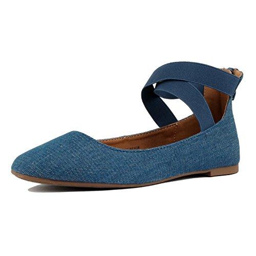 Guilt Yshoes - Women's Classic Ballerina Flats - Elastic Crossing Straps - Comfort Stretchy Ballet-Flats, Blue Denim, 6