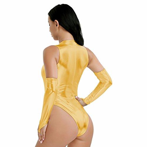 Gogo Wetlook Blau Schwarz Clubwear Damen Metallic Iiniim Leotard Rot Body Bodysuit Gold Silber Einteiler Overall
