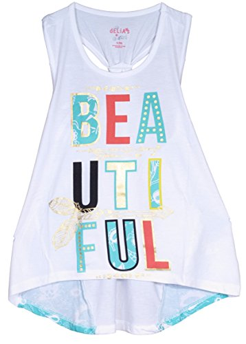 'dELiAs Girls Tank Top Beautiful Off Shoulder with Flower Detail, White, Size (Girls Pretty Tops)