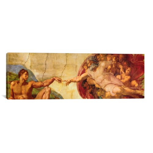 iCanvasART 318PAN Creation of Adam by Michelangelo di Lodovico Buonarroti Simoni Canvas Print, 60 by 20-Inch, 0.75-Inch Deep - Michelangelo Buonarroti Creation Of Adam