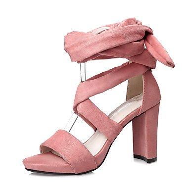 Sandali Primavera Estate Comfort scamosciata Abito tacco grosso delle donne YCMDM , pink , us6.5-7 / eu37 / uk4.5-5 / cn37