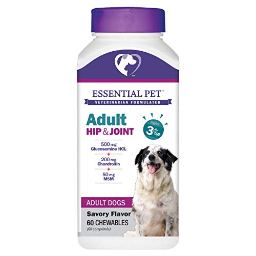 (Essential Pet 27904 Adult Dog Hip & Joint Support Chewable Tablet Age 3+ with 500mg Glucosamine & 200mg Chondroitin, White)