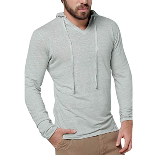 Soccer Heavyweight Cotton Tee - Yihaojia Men Blouse Mens Slim Fit Long Sleeve Hooded T-Shirt Casual Hipster Pullover Sweatshirt (L, Gray)