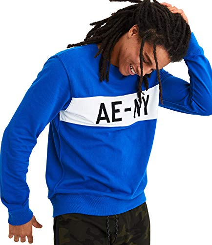 American Eagle Mens Pique Long Sleeve Graphic Tee, Blue (L)