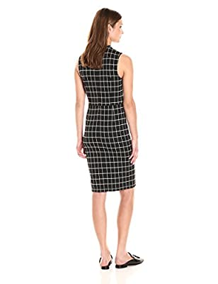 PARIS SUNDAY Women's Sleeveless Mock Neck Windowpane Check Sheath Dress